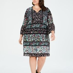 Style & Co Plus Size Mixed-Print Trim Dress